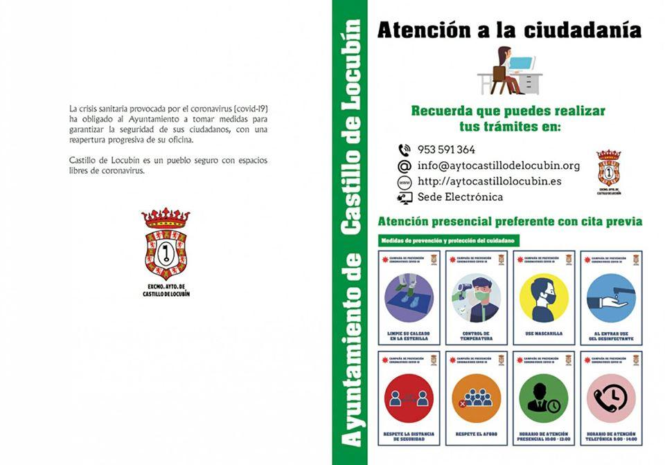 Diptico Atención a la Ciudadania Ayuntamiento de Castillo de Locubin